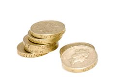 British coins. UK pound coins macro. Isolated in white Royalty Free Stock Images