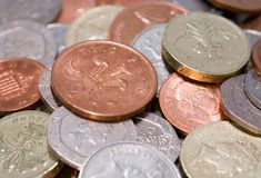 British coins. Coins macro. Money from the United Kingdom stock photography