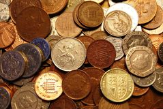 British coins. Collection of British coins from one pence to one pound stock image