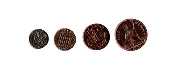 British Coins. An isolation of four common British coins Stock Image