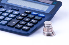 British coins and calculator with tax sign Royalty Free Stock Image
