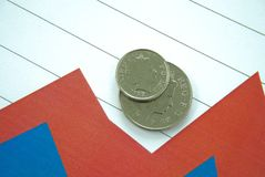 British coins and chart. British silver coins on top of red and blue chart Royalty Free Stock Photography