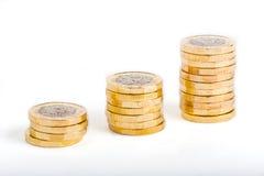 british coins ett pund Arkivfoto
