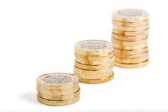 british coins ett pund Royaltyfria Bilder