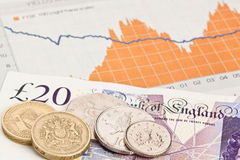British coins on a finance graph. British note and coins on a finance graph Royalty Free Stock Photography