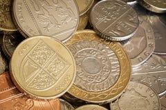 British Coins Full Frame Background. British coins in full frame background.  Overhead view Royalty Free Stock Images
