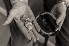 British coins in the hand of a pensioner. Royalty Free Stock Images