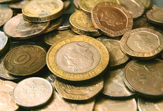 British coins. Many British coins scattered randomly Royalty Free Stock Images