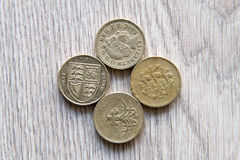 British coins. Mix of british coins - pence, penny, pounds Royalty Free Stock Image