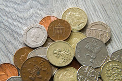 British coins. Mix of british coins - pence, penny, pounds Royalty Free Stock Images