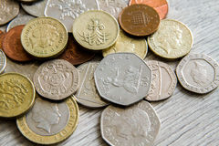 British coins. Mix of british coins - pence, penny, pounds Stock Images