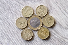 British coins. Mix of british coins - pence, penny, pounds Stock Photo