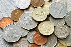 British coins. Mix of british coins - pence, penny, pounds Royalty Free Stock Photos