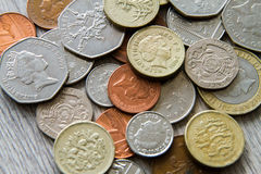 British coins. Mix of british coins - pence, penny, pounds Stock Image