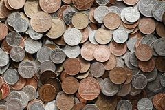 British Coins. Mixed denomination low value British currency. Twenty, ten, five, two and one pence coins royalty free stock photography