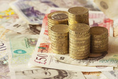 British Coins and notes. Great British coins and noted Royalty Free Stock Photography