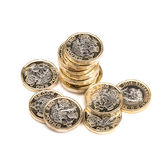 British Coins. British one pound coins on white Stock Photography