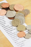 British Coins and a Shopping Receipt Royalty Free Stock Image