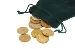 British Coins and a Small Purse Royalty Free Stock Photo