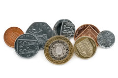 British coins  on White Background. Variety of British coins  on white background.  Overhead view Royalty Free Stock Images