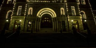 British Colombia Parliament building. The British Colombia Parliament building at night in Victoria Royalty Free Stock Photography