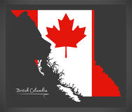 British Columbia Canada map with Canadian national flag. British Columbia Canada map with Canadian national flag Royalty Free Stock Photography
