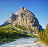 British Columbia, Cathedral Mountain, Canada. Cathedral Mountain and river from  Lodge, Yoho Valley Road. Yoho National Park, British Columbia, Canada Royalty Free Stock Photo