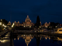 British Columbia legislature lit at night Stock Image