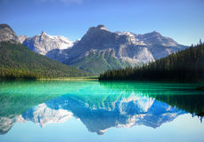 British Columbia, Mountain Lake, Canadian Landscape. Beautiful mountain Emerald-Green Lake in Canadian landscape. British Columbia stock photos