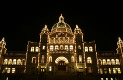 British Columbia parliament. Lights of the British Columbia Parliament House at night.  Victoria, British Columbia, Canada Royalty Free Stock Photo