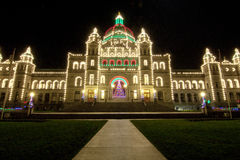 British Columbia Parliament Building. A few days before Christmas, the Parliament building is very ready with their holiday decorations Royalty Free Stock Photography