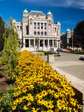 British Columbia Parliament Building with yellow flowers Royalty Free Stock Image