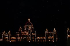 BC Parliament buildings Christmas lights at night. The British Columbia Parliament Buildings are located in Victoria, British Columbia, Canada and are home to Stock Images