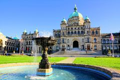 British Columbia provincial parliament building with fountain. Historic British Columbia provincial parliament building with fountain, Victoria, BC, Canada Royalty Free Stock Photo