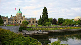 The British Columbia's British Columbia Parliament Building, salutes visitors arriving at Victoria Inner Harbour, Canada Royalty Free Stock Images
