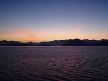 British Columbia Sunrise. A British Columbia sunrise outside of Vancouver as seen aboard an Alaskan cruise royalty free stock image