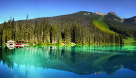 British Columbia, Vancouver, Emerald Lake. Emerald Lake is a lake in Yoho National Park, British Columbia, Canada Stock Photo