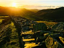 Sunset over the mountains. British countryside landscape in lake district Stock Photo