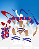 British crowd. Crowd of soccer people fan and three soccer players with scarf and flag Royalty Free Stock Images