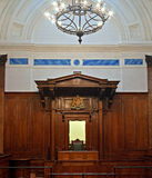 British crown court room. Crown court in St Georges Hall, Liverpool, UK royalty free stock photo