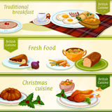 British cuisine breakfast, Christmas dinner banner Royalty Free Stock Photo