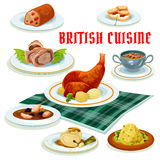 British cuisine cartoon icon for restaurant design. British cuisine menu cartoon icon with beef wellington in pastry, scones, fruit cake, baked rabbit, cod in Royalty Free Stock Image