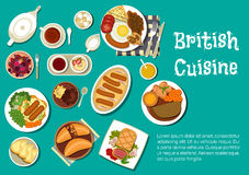 British cuisine dinner with comfort food flat icon Royalty Free Stock Photography
