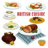 British cuisine dinner menu cartoon icon. British cuisine cartoon icon with fish and fries, vegetable irish stew, roast beef with yorkshire pudding, baked beef Royalty Free Stock Photo