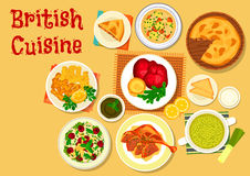 British cuisine fish and meat dishes icon Royalty Free Stock Images