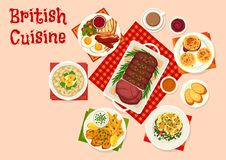 British cuisine icon of traditional breakfast food. British cuisine breakfast food icon. Egg, bacon, sausage and beans with toast, oatmeal with fruit and roast Royalty Free Stock Photos
