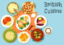 British cuisine main dishes with snack food icon. Of cheese toast, beef steak, fish rice salad, irish vegetable meat stew, scotch egg wrapped in sausage meat Stock Photography