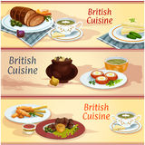 British cuisine main and snack dishes banner set. British cuisine main and snack dishes banner. Cucumber sandwich, fish and chips, irish vegetable meat stew Stock Photography