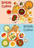 British cuisine popular dishes icon set design. British cuisine popular dishes icon set. Sausage baked in bacon, vegetable meat stew, beef steak, egg, beer Stock Photos