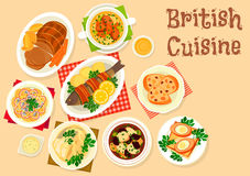 British cuisine tasty dishes icon for menu design. British cuisine tasty dishes icon of roast beef, trout baked in bacon, scottish soup with lamb, fish in cream Stock Photo